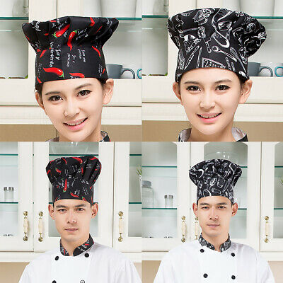 2pcs Adult Baker Bbq Kitchen Cooking Hat Chef Hat Elastic Catering Supplies