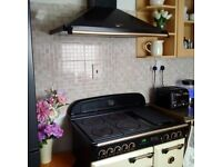 Electric Rangemaster Cream Cooker + Canopy with matching Brass Rail. 90cm