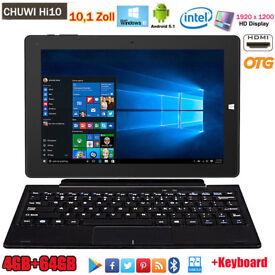 "BRAND NEW,4/64GB 10.1"" CHUWI Hi10 Windows10 Android 5.1 Tablet PC HDMI 2*Cameras +Keyboard"