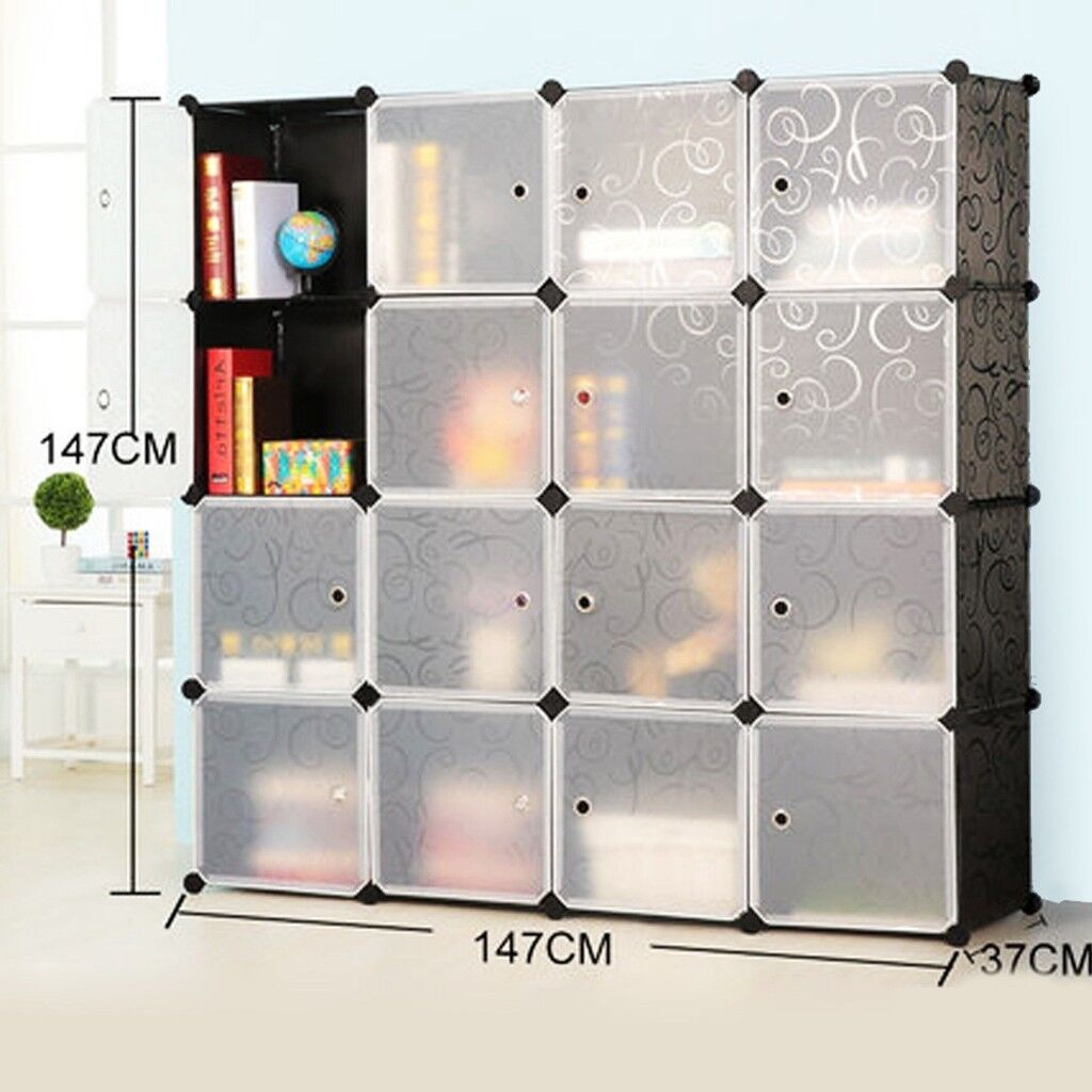 Interlocking Cube Plastic Bookshelf Storage Rack Organizer Bookcase
