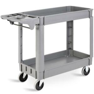 "Plastic Utility Service Cart 550 LBS Capacity 2 Shelves Rolling 40"" x 17"" x 33"" - BRAND NEW - FREE SHIPPING"