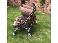 Cosatto Supa Dupa double buggy with accessories incl rain cover