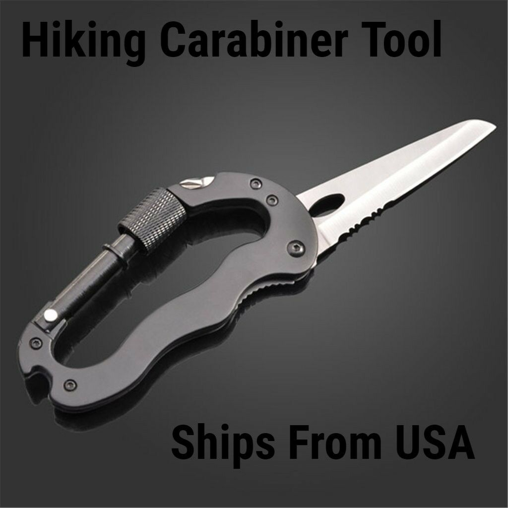 5 way Multi Function Survival Hiking Gear Knife Carabiner To