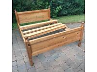Antique solid pine double bed