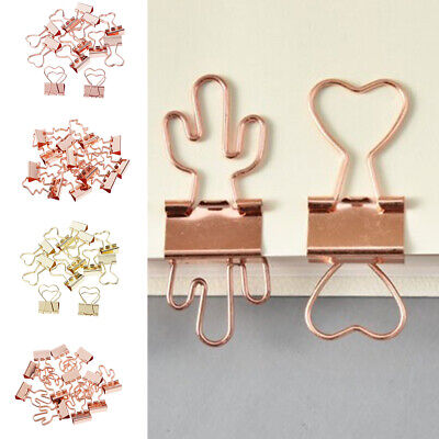 12pcs Cute Metal Binder Clips Stationary Planner Memo Paper Clips For Office