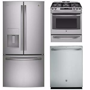 Stainless Steel Kitchen Appliances Combo: 33'' Fridge, 30'' Stove, 24'' Dishwasher