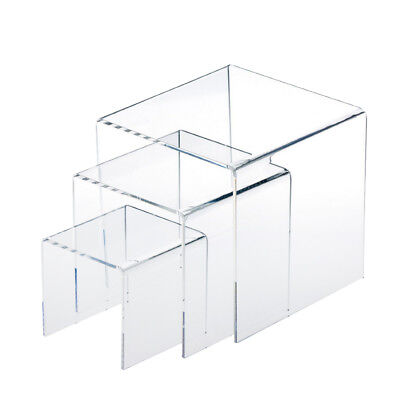 1 Set Clear Acrylic Jewelry Display Risers Showcase Fixtures