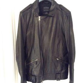All Saints Leather Jacket Black Griffin Large Size