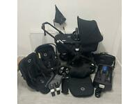 Bugaboo Fox Black Edition Pushchair Complete Travel System + Nuna Turtle Car Seat & Isofix