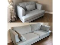 French connection DFS large 4 seater sofa and cuddled chair Duck egg blue VGC