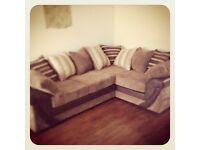 Brown fabric 4 seater corner sofa