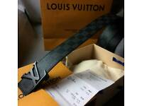 Black on black louis chequered mens leather belt vuitton boxed gift