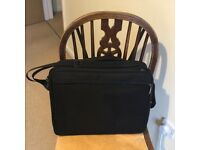 Black Laptop Bag/Case front zips either side to open flat with pockets