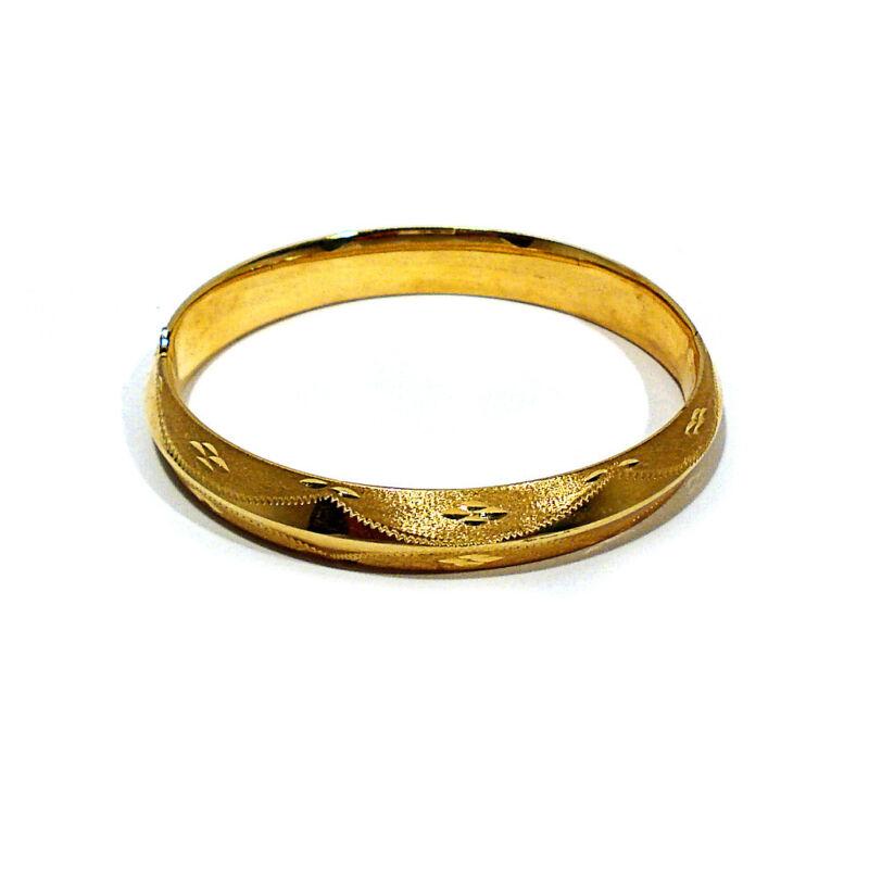 SOLID 14K YELLOW GOLD DECORATED HINGED TUBE BANGLE BRACELET