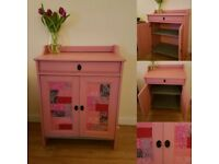 Shabby chic bedside table/cabinet with two shelves and one drawer in a unique design.