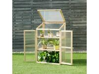 Natural Wooden Greenhouse 60x45x100 cm. Brand New.