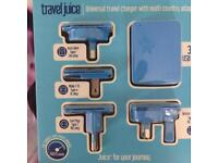 Travel adapter plug for use abroad. Multi region