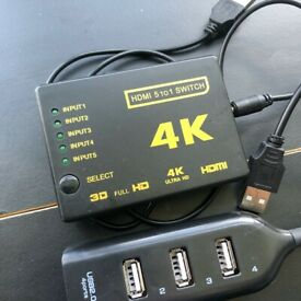 5 Port HDMI 4K Switch + Usb Hub. Just £5 for both.