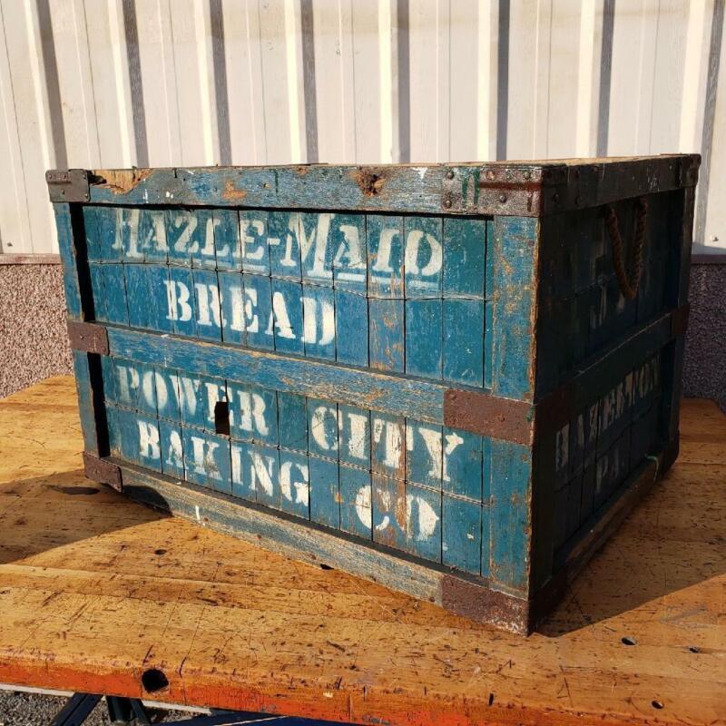 RARE LARGE Vintage Antique wood BREAD Advertising CRATE BOX HAZELTON PA
