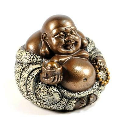 "HAPPY BUDDHA STATUE 3.5"" Fat Laughing Hotei NEW Bronze Resin Lucky Feng Shui"