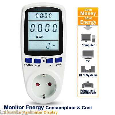 LCD KWH Energieverbrauch Messgerät Wattmeter Stromzähler Energiemessgerät 2 pin