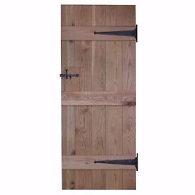 Door 425 - Solid Oak Rustic Internal Door - V Groove - 610 x 415mm - Clear Oiled