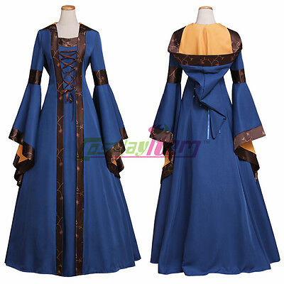 Blue And Brown Medieval Dress Womens Victorian Renaissance Gothic Dress Costume - Medieval And Renaissance Costumes