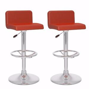 CorLiving Low-Back Adjustable Barstools, Set of 2 Red |  BRAND NEW!  Just Reduced