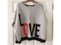 River Island size 8 grey/beige 'Love' jumper in excellent condition