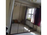 Good Condition Three Wardrobes Unit With Mirror Doors