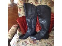 Black leather flat long boots