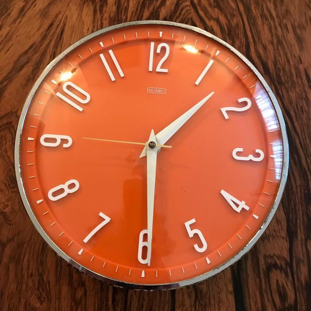Vintage 1960s Orange Metamec Wall Clock Mid Century Retro