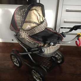 SILVER CROSS DOLL'S PRAM WITH DOLL