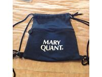Vintage Mary Quant cloth rucksack, in black, with famous logo on both sides.