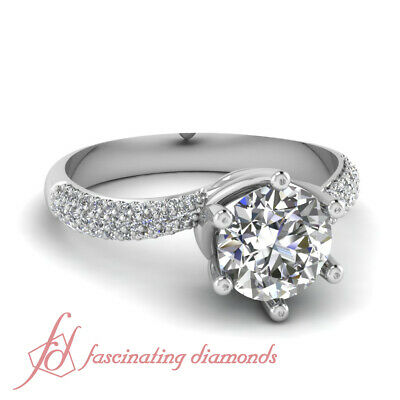 3/4 Ct Round Cut Untreated Diamond Swirl Style Pave Set Engagement Ring GIA