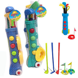 Kids Toy Golf Set Plastic Golf Clubs Balls Caddy Garden Summer Fun Outdoor Beach
