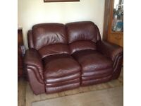 Brown leather 2 seater reclining my sofa
