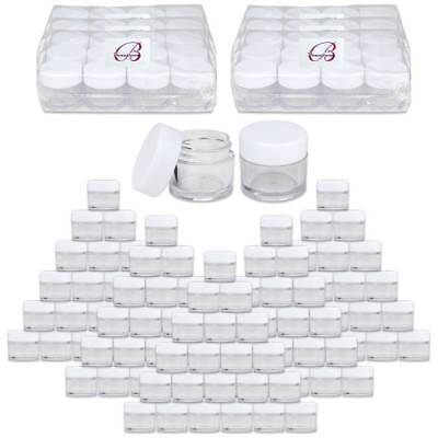 Clear Plastic Jars With Lids (Beauticom® (60 PCS) 7G/7ML Clear Plastic Refillable Jars with White)