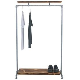 Ziito wood double shelf clothes rail