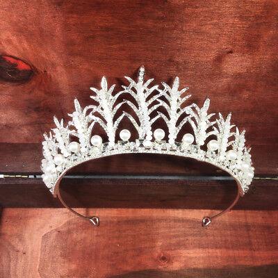 Strass Perle Krone Stirnband Tiara für Frauen Mädchen (Prom Krone)