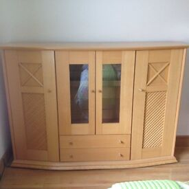 Beech display cabinet