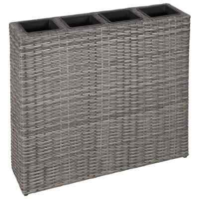 vidaXL Planter with 4 Pots Poly Rattan Grey Outdoor Flower Box Raised Bed