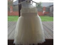 Flower girl dress cream / ivory with lace detail