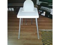 Whire baby high chair & other items