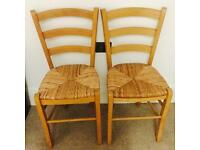 2 Pine Dining Chairs with Wicker Seats - Shabby Chic Project Idea