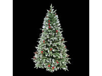 Amazing New 7ft 210cm red berries & pinecones Snow tipped Green Artificial Christmas PE Tree