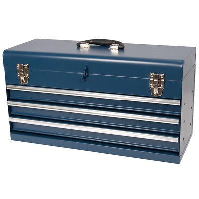 Werkzeugkiste, klein 3 Schubladen, Kugelgelagert blau aus Metall, Werkzeugkasten