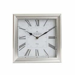 NEW 10 Brushed Silver Roman Numeral Square Tabletop Clock