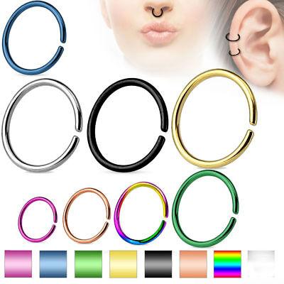 - Cartilage Tragus Septum Nose Hoop Ring C Shaped Titanium Annealed 14,16,18,20 G