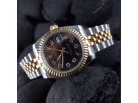 New black numbers dial silver jubilee bracelet Rolex Datejust Mens watch automatic sweeping